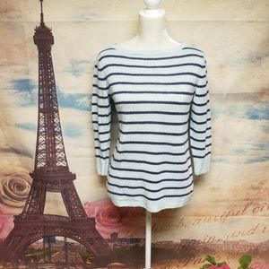 Talbots striped light weight 3/4 sleeves sweater